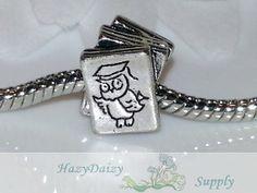 Professor Owl Book European Beads  Sku241 by HazyDaizySupply, $4.00