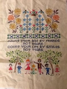 "Completed Cross Stitch Handmade Verse Linen 25"" x 19 Vintage Sampler Tapestry"