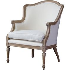 Classic contouring, contrasting leg designs and the comfort of cotton combine to create the Charlemagne Traditional French Accent Chair. Cedar wood frame ...