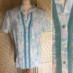 b6d2b3e0279 Bonmarche Ladies Womens Short Sleeved Green Patterned Blouse - UK Plus Size  22  fashion