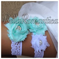 White Eyelet Lace Garter  Tiffany Blue Wedding  by BellaRomantica, $21.99