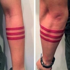 Masculine Armband Tattoos For Men Three Red Solid Lines