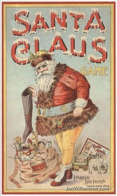 """""""Santa Claus Game"""" , made by Parker Brothers. An antique board game. Vintage Christmas Images, Old Fashioned Christmas, Christmas Past, Victorian Christmas, Christmas Books, Father Christmas, Christmas Pictures, Vintage Images, Mary Christmas"""