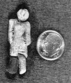 A small clay figurine of a human that was found in 1889 at Nampa, Idaho. It came from a well boring, at a depth of around 90 metres, where the clay geological stratum of the Glenns Ferry Formation dates to the Pliocene-Pleistocene transition, around 2 million years ago. This stratum is sealed by a basalt layer. The figurine is about 37 mm long and appears to be a representation of a clothed woman.