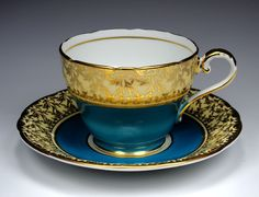 Antique Aynsley Tea Cup and Saucer, Peacock Blue with Heavy Gold Gilt, English Bone China, Fancy Gold Teacup, Tea Party, Vintage 1940s 1950s by TeacupsAndOldLace on Etsy https://www.etsy.com/listing/217622869/antique-aynsley-tea-cup-and-saucer
