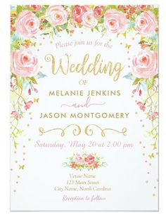 2f302878e14 Spring or Summer Garden Floral Wedding Invitations with butterflies. Pink