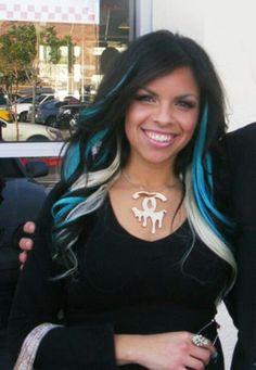 Black teal and platinum hair