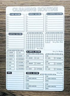 Daily, Weekly Routines, Zone Cleaning Checklist / Flylady's Control Journal / x 11 planner Inser Bullet Journal Routine, Bullet Journal Digital, Bullet Journal Ideas Pages, Bullet Journal Inspiration, Bullet Journal Cleaning Schedule, Cleaning Schedule Templates, Bullet Journal Printables, Bullet Journals, To Do Planner