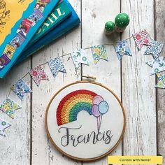 Rainbow Nursery Hoop Art Personalised Name Embroidery Hoop Art for Childs Room . Rainbow Nursery H Name Embroidery, Embroidery Hoop Art, Rainbow Nursery, Rainbow Baby, Nursery Signs, Nursery Art, Baby Name Art, Rainbow Names, Playroom Decor
