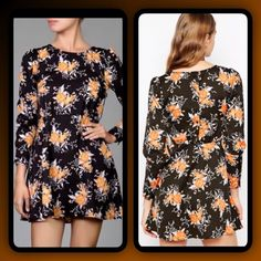 "Free People Black Floral Print Dress Pretty black and orange floral Parker Dress features long sleeves with 4 button cuffs, back button detail and hidden side zipper...Length:34.5"" Bust:37"". Waist: 32.5"" Free People Dresses Mini"