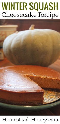 This winter squash cheesecake recipe, made with locally grown ingredients, is the perfect Autumn dessert, blending sweetness with pumpkin pie spices. | Homestead Honey