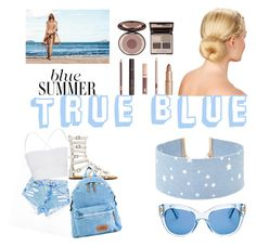 """""""True blue"""" by chanykxxx ❤ liked on Polyvore featuring Theory, Eastpak, Kate Spade, Charlotte Tilbury and Forever 21"""