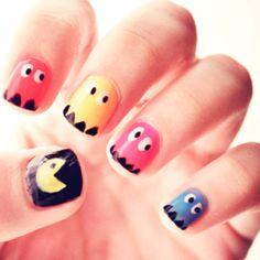 awesome Pac Man Nail Art Designs for Beginners Fingernail Designs, Nail Polish Designs, Simple Nail Art Designs, Cute Nail Designs, Love Nails, Pretty Nails, Pac Man Nails, Heart Nail Art, Simple Nails