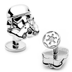 Star Wars Cufflinks ~ many designs featuring Storm Troopers, Darth Vader, R2D2, C3PO, and other characters at http://www.commentsjunkie.com/cufflinks/Star-Wars.shtml ~ the perfect gift for any dapper Star Wars fan!