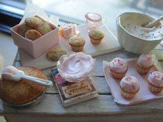 Dollhouse miniature confetti cake cupcakes and by Kimsminibakery