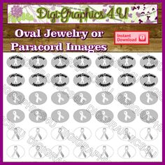 Printable Lung Cancer Awareness Paracord Charm Oval Order Sheet Digital Images for Paracord Bracelets Jewelry Shoelace and More