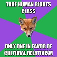 oh the plight of an international studies/anthropology student with a background in human rights classes...
