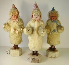 3 Antike Lichter Engel Puppen aus dem Erzgebirge K & W / G Kopf