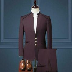 Men's Chinese style stand collar suit two-piece suit jacket + pants men's business formal suit wedding groom groomsmen dress Mens Fashion Suits, Fashion Pants, Mens Suits, Dress Fashion, Fashion Fashion, Fashion Outfits, Dress Suits For Men, Men Dress, Blazer Outfits Men