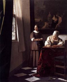 Lady Writing a Letter with her Maid - Johannes Vermeer.  c.1670.  Oil on canvas.  72.2 x 59.7 cm.  National Gallery of Ireland, Dublin, Ireland.