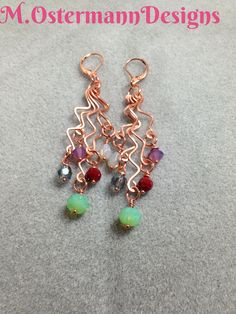 Hand formed & hammered copper wire earrings