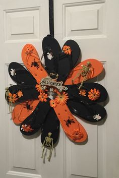 Halloween Flip Flop Skeleton Wreath with Black by PoppiesBlossom