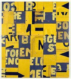 Rosalie Gascoigne, Ensign, 1995. (retro-reflective road sign on craft board.)