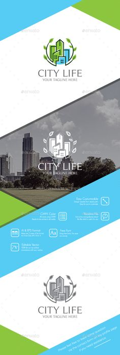 City Life Logo by BiruMuda Feature100 Vector Fully Editable Easy Costumizable Resizable Layered Free Font CMYKFont name and download links can be found in