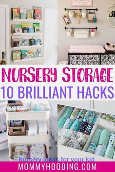 Are you preparing your nursery? These 10 nursery organization ideas and tips are a must-read to get ready for baby! Baby Room Storage, Nursery Storage, Nursery Shelves, Baby Nursery Diy, Baby Room Decor, Nursery Ideas, Budget Nursery, Diy Baby, Room Ideas
