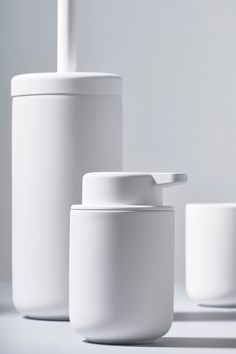 Zone Ume soap dispenser, toothbrush mug and toilet brush Bathroom Accesories, Rental Bathroom, Soap Pump, Container Design, Toilet Brush, Design Language, Creating A Brand, Bathroom Styling, Commercial Design