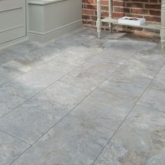 Professional V Groove Grey Slate laminate tile - Howdens Bathroom Howdens Kitchens, Grey Laminate Flooring, Porch Tile, Dental Office Decor, Black Interior Doors, Commercial Interior Design, Grey Slate, Bathroom Signs