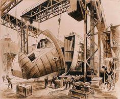 Thomas Hart Benton Bow Up pen+ink+wash Submarine Museum, American Realism, Grant Wood, Social Realism, Ink Wash, Submarines, Printmaking, Wwii, Illustrators