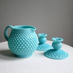 Vintage Fenton Hobnail Turquoise Milk Glass Jug Pitcher and Candle Holders
