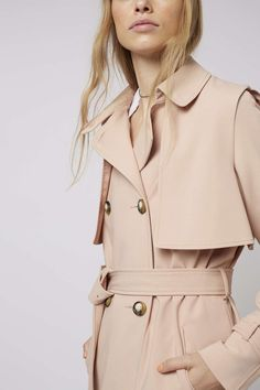 AMAZING topshop Bonded trench coat uk 14 Blush Nude pink camel ...
