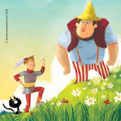 The Brave Little Tailor outwits a giant! Art by Chiara Nocentini (http://www.chiaranocentini.it). Our Storytime 25 fairy tale! ~ STORYTIMEMAGAZINE.COM