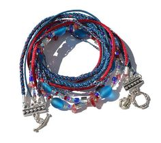 BEADED BOHO BRACELET  Red Blue Beads  festival  by HeketDesigns, $25.00
