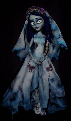 BEFORE PHOTO: [link] Custom MH Ghoulia as Emily, the Corpse Bride. at times I think my Tim Burton obsession has reached dangerous heights. Custom Monster High Dolls, Monster Dolls, Monster High Repaint, Custom Dolls, Ooak Dolls, Blythe Dolls, Art Dolls, Barbie Doll, Corpse Bride Doll