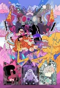 """""""Steven Universe""""/""""Uncle Grandpa"""" Cross-over poster by Nick Edwards. (Click to enlarge.)"""