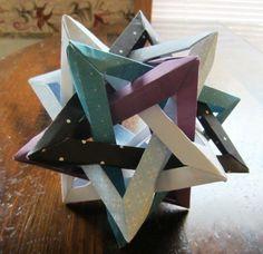 Origami Paper Star Handmade Geometric Modular Desk Decoration Black White Purple. $18.00, via Etsy.