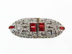 Art Deco Rhinestone Shoe Clips, Red Rhinestone, Rhodium Plated, Pave Rhinestone, Vintage Jewelry, Rhinestone Clip, Rhinestone Jewelry by VintageGemz on Etsy