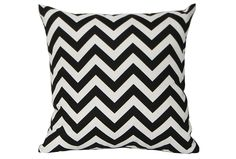 The Keona black 18x18 outdoor accent pillow dons a classic chevron pattern conveyed in black and white for a timelessly handsome look.