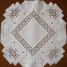 This a larger Hardanger embroidery piece that I have done. This is one of my favorite Hardanger pieces, I love the white on white. It is 14...