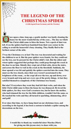 Legend of the Christmas Spider--although I hate spiders, I really like this!