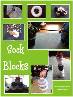 Sock Blocks - Create some of these fun sock blocks for functional play. - Pinned by – Please Visit for all our pediatric therapy pins Motor Activities, Therapy Activities, Educational Activities, Toddler Activities, Therapy Ideas, Block Center, Block Area, Block Play, Creative Curriculum
