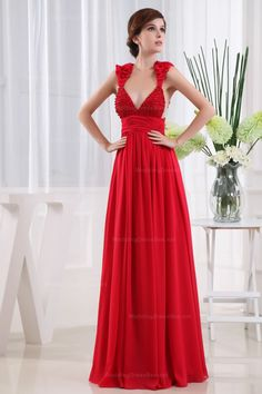 Sexy Evening Dress With Empire Waist And Floor-Length- love the top of this dress- maybe for MOH?