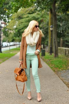 Cords, sweater and scarf: H & M, Shoes: Louboutin, Coat: J Crew, Bag: Pietro Alessandro Corduroy Pants, Colored Pants, Maxi Cardigan, Mint Green Pants, Womens Fashion, Love Fashion, Fashion Beauty, Style Fashion, Brooklyn Blonde