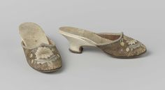 Pair of lady's mules, c. Brown leather, embroidered with white and blue flowers, white leather covered heels. White And Blue Flowers, 18th Century Clothing, Body Adornment, Leather Cover, White Leather, Footwear, Pairs, Boots, History