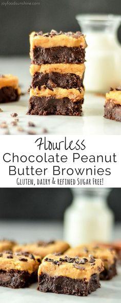 These Flourless Chocolate Peanut Butter Brownies are made with only 9 ingredients that you probably already have in your pantry! They're ultra fudgy, super gooey and irresistibly chocolatey! Plus they're gluten-free, dairy-free and refined sugar free! The