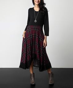 Look at this Black & Burgundy Plaid Lace-Hem Maxi Dress on #zulily today!