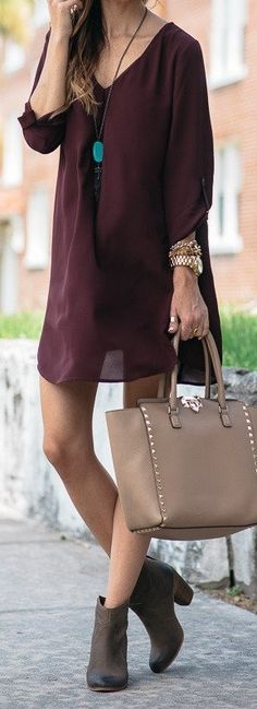 #spring #outfits Wine Shift Dress + Brown Suede Booties